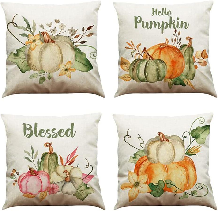 MIUINCY Fall Pillow Covers 18x18 Inch, Set of 4 Autumn Thanksgiving Pumpkin Theme Decor Throw Pillowcase Harvest Cushion Case for Sofa Couch