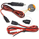 Cb Radio Power Cord/Cables 2-Wire 15A 3-Pin CB Power Cord with 12V Cigarette Lighter Plug for Cb Radio (2 Pack)