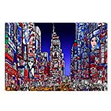 Startonight Canvas Wall Art Colored New York City Fashion Style, Dual View Surprise Artwork Modern Framed Ready to Hang Wall Art 100% Original Art Painting 23.62 X 35.43 inch