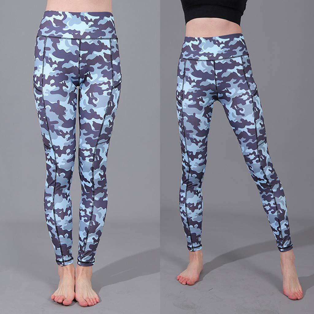 SMILEQ Pantalones de Dama Impresos Bolsillos de Camuflaje Ajuste ...
