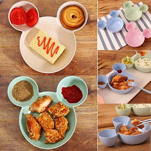 Bulges Children Cute Bowl Sub-Grid Tableware Fruit Plate Cartoon Baby Boxes