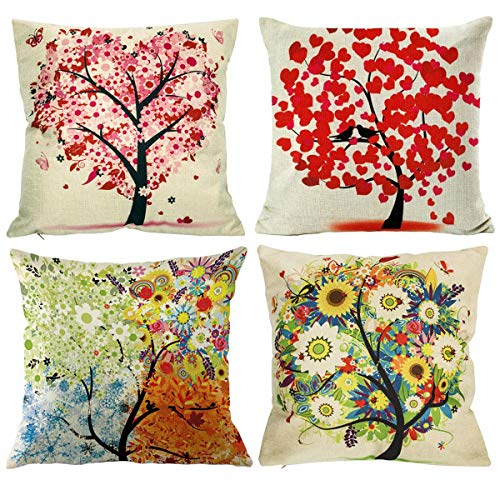 NYKKOLA Soild Sweet Heart Tree Linen Throw Pillow Covers Set, Decorative Pillowcase Cushion Cover for Sofa Bedroom Car 18 x 18 Inch 45 x 45 cm (Style - Heart Pillow Plaid