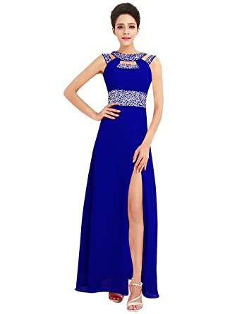 Azbro Womens Rhinestone High Slit Cut-Out Front Prom Dress, Royal Blue XXXL