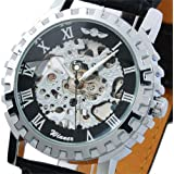 ESS Man Men's Black Dial Leather Luxury Stainless Steel Skeleton Hand-Wind Up Mechanical Watch WM219