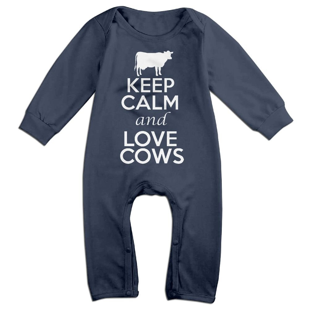 Baby Infant Romper Keep Calm And Love Cows Long Sleeve Jumpsuit Costume Navy NOXIDN SMWI