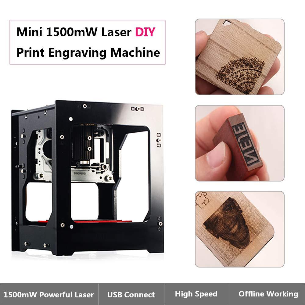 Impresora láser grabadora 1500mw Máquina de grabado láser DIY USB Router CNC Corte Operación Off-line Carver para Art Craft Science para Win 7/8/10 / XP