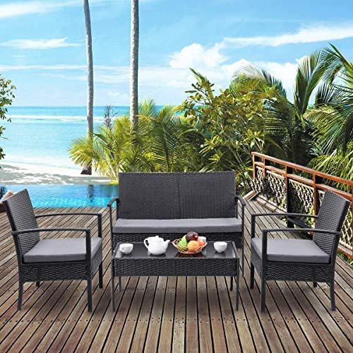 Tangkula 4 Piece Outdoor Furniture Set Patio Garden Pool Lawn Rattan Wicker Loveseat Sofa Cushioned Seat & Glass Top Coffee Table Modern Wicker Rattan Conversation Set (Black) (Depot Yard Home Furniture)