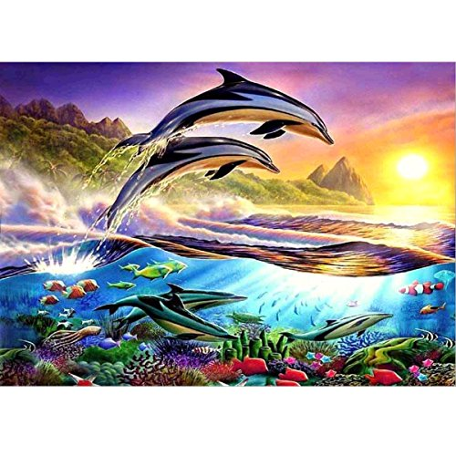 - DIY 5D Diamond Painting by Number Kits Full Round Drill Rhinestone Cross Stitch Picture Craft for Home Wall Decor 12x16In Jumping Dolphin