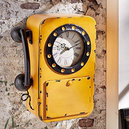 Schlüsselkasten im Retro-Telefon-Look - mit Analog-Uhr - in Gelb / Schwarz - aus Eisen + Glas - Batteriebetrieb 1 x 1,5 V Mignon
