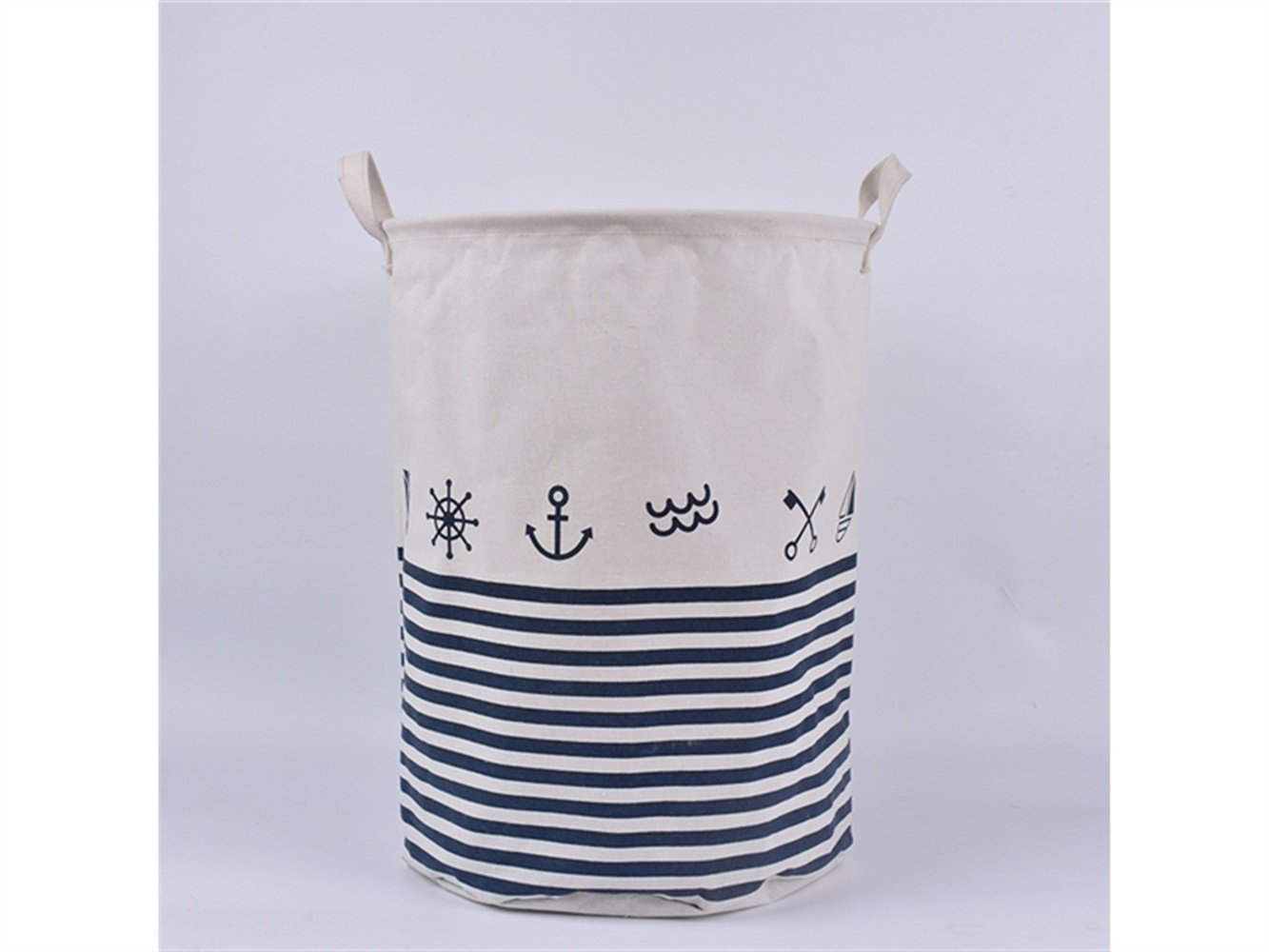 Gelaiken Lightweight Cylindrical Tote Storage Bucket Cotton and Linen Bucket Sundries Storage Bucket(White)