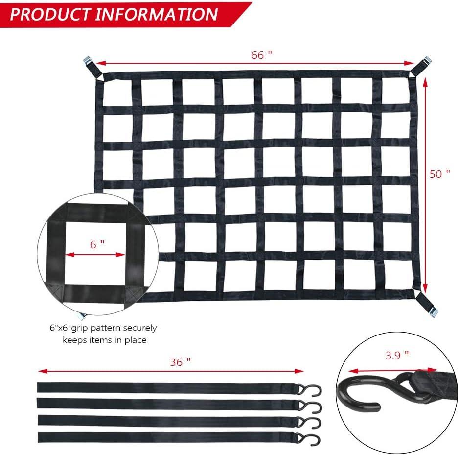 66 x 50 SurmountWay Cargo Net Capacity 1100LBS Truck Bed Cargo Net 5.5 x 4.1 Rugged Truck Bed Cargo Net,Heavy Duty Cargo Nets for Pickup Trucks with Cam Buckles /& S-Hooks