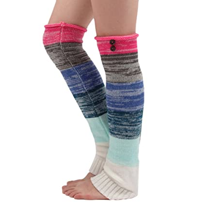 TININNA Nueva Mujeres Cálido Invierno Clásico calentadores Medias de piernas calcetines de punto-Rosa caliente