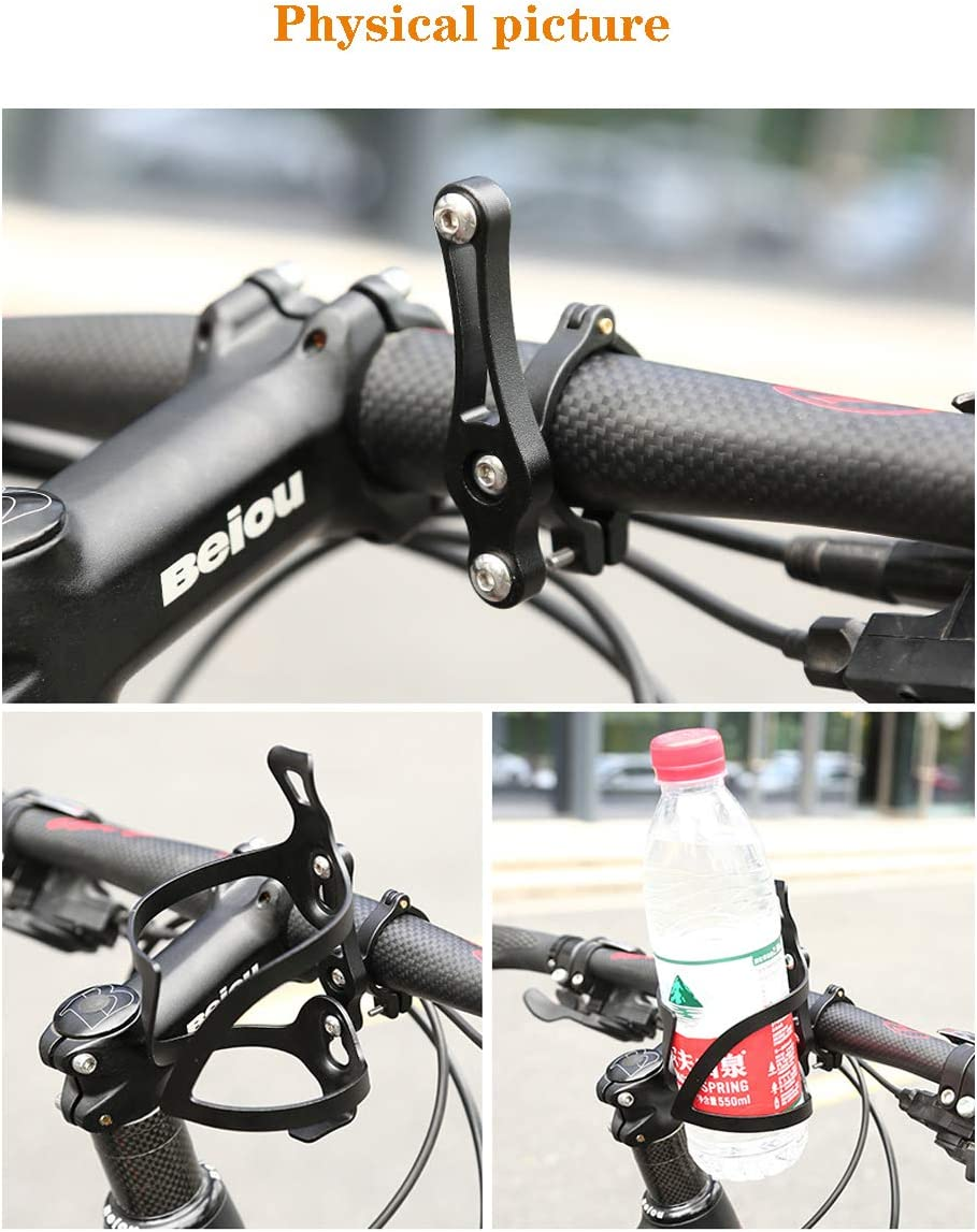 Black Yutou Bicycle Bottle Cage Adapter Converter Bike Accessory Aluminium Alloy Bicycle Kettle Holder Mount Conversion Adapter with Screws Washer