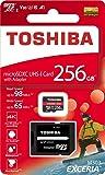 Toshiba 256GB 256G EXCERIA M303 with SD Adapter microSDXC UHS-I U3 Card 4K Class10 V30 A1 microSD micro SD Card Memory Card Read 98MB/s Write 65MB/s (THN-M303R2560A2)