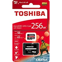 Toshiba 256GB 256G EXCERIA M303 with SD Adapter microSDXC UHS-I U3 Card 4K Class10 V30 A1 microSD Micro SD Card Memory Card Read 98MB/s Write 65MB/s (THN-M303R2560A2)