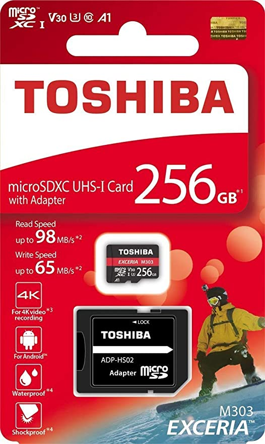 Toshiba 256 GB 256 G EXCERIA M303 con Adaptador SD microSDXC UHS-I U3 Tarjeta 4 K Class10 V30 A1 microSD Tarjeta de Memoria Micro SD Lectura 98 MB/s ...