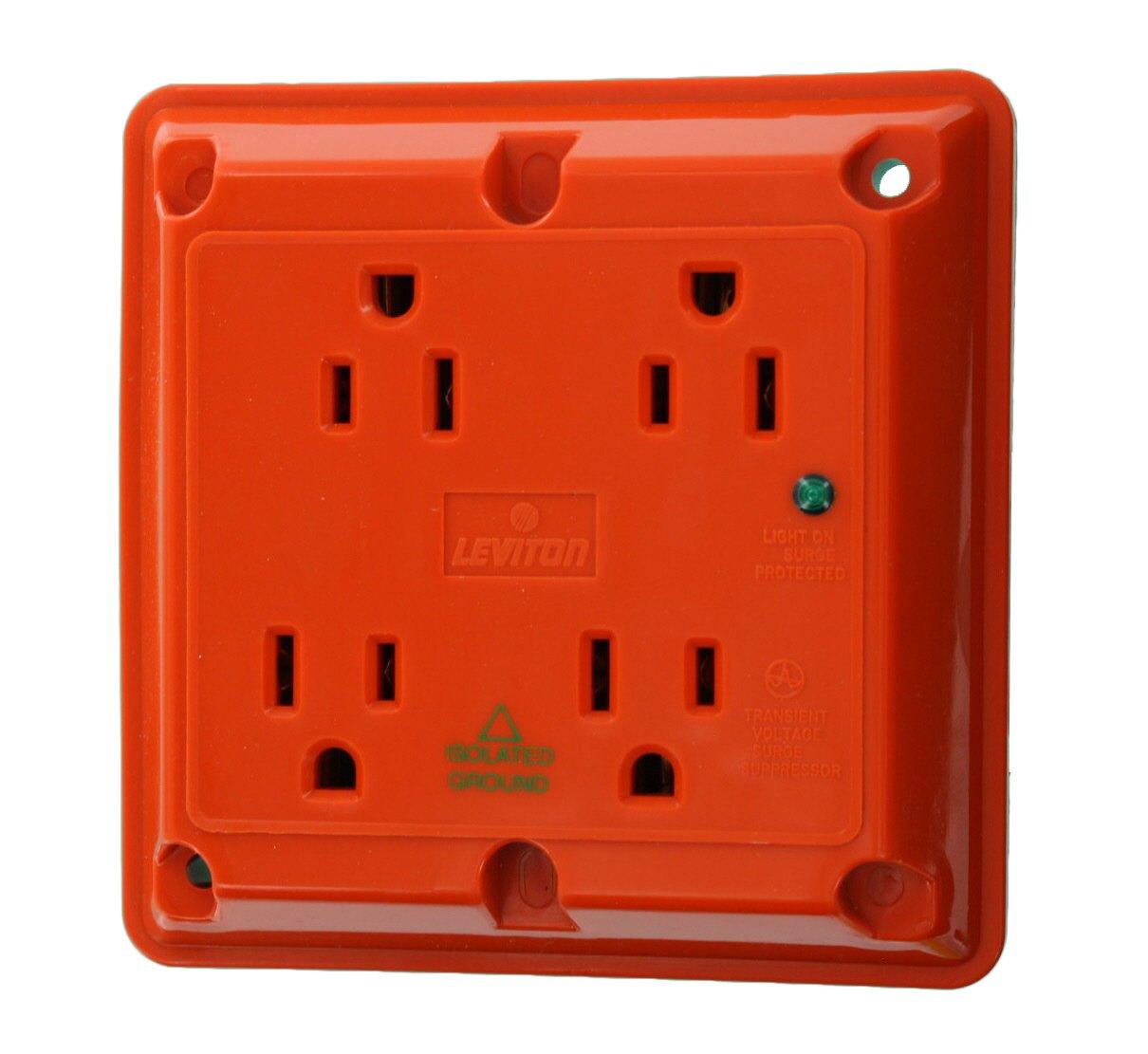 Leviton 5480-IG 15-Amp 125-Volt 4-In-1 Receptacle, Orange