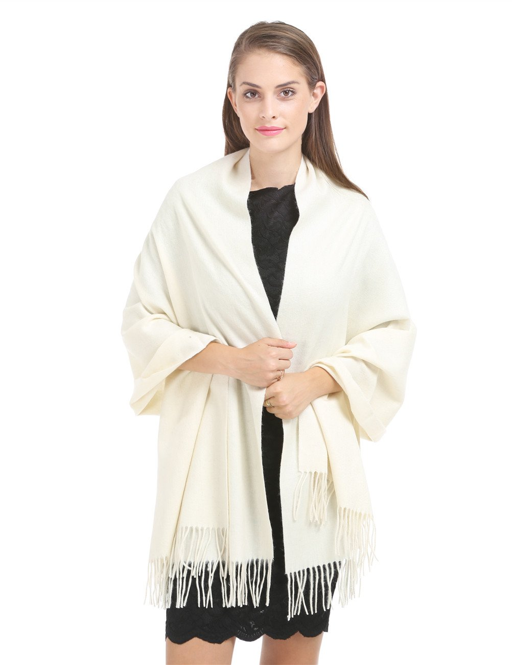 Cashmere Wraps Shawl Stole for Women Winter Warm and Soft Extra Large(79'' X 28'') Men Luxurious Solid Lambswool Pashmina Scarf with Gift Box ZZZ-Ivory by SAFERIN