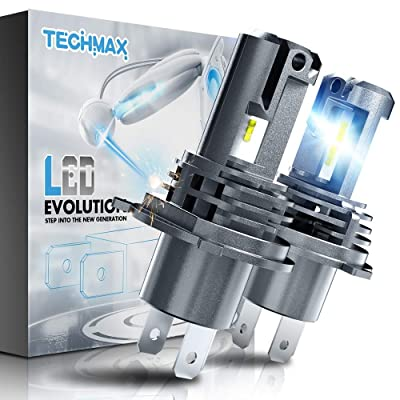 TECHMAX H4 LED Headlight Bulb,Small Design 60W 10000Lm 6500K Xenon White ZES Chips Extremely Bright 9003 Conversion Kit of 2: Automotive