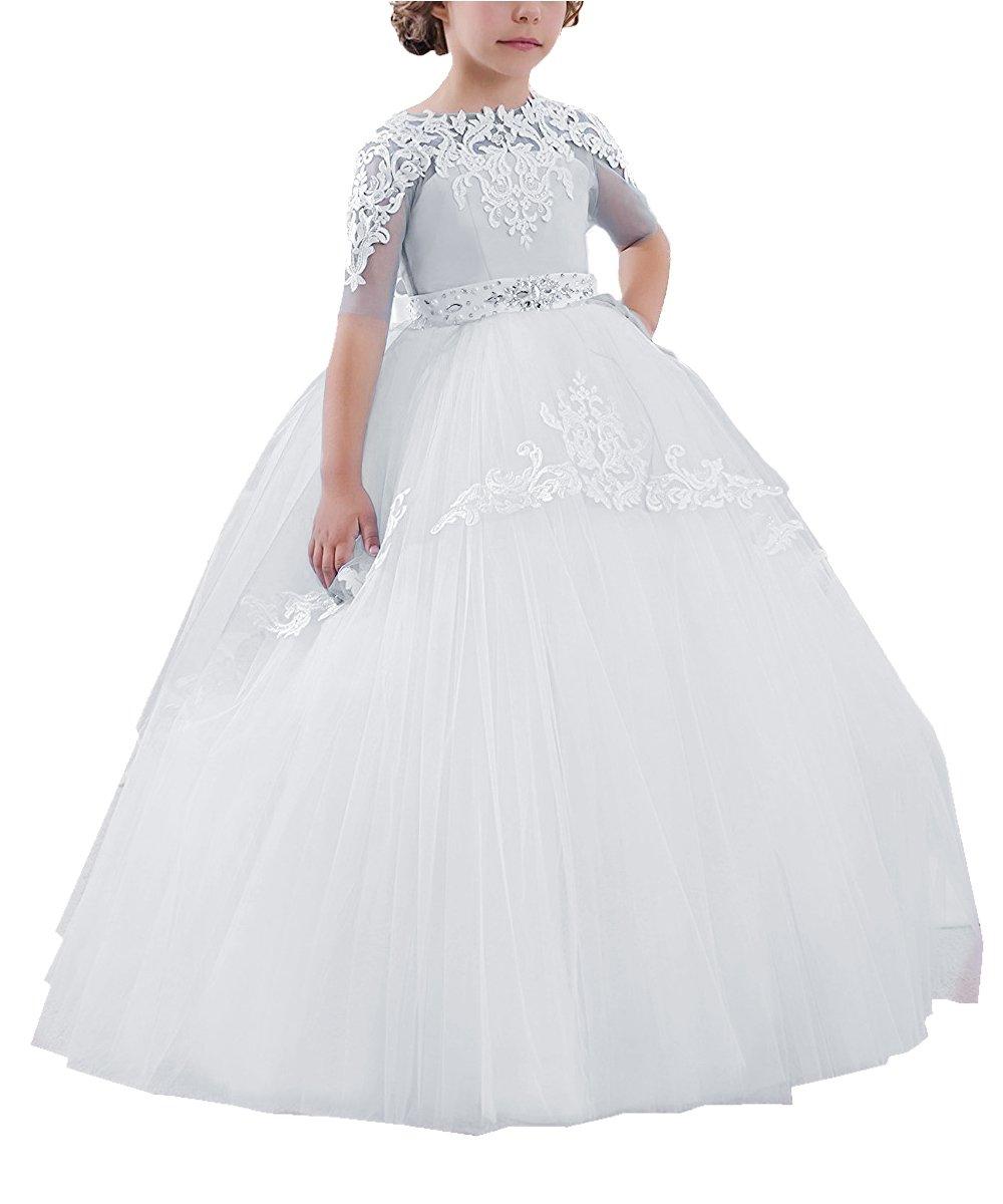 Carat Flower Girls Long First Communion Dresses Kids Pageant Prom