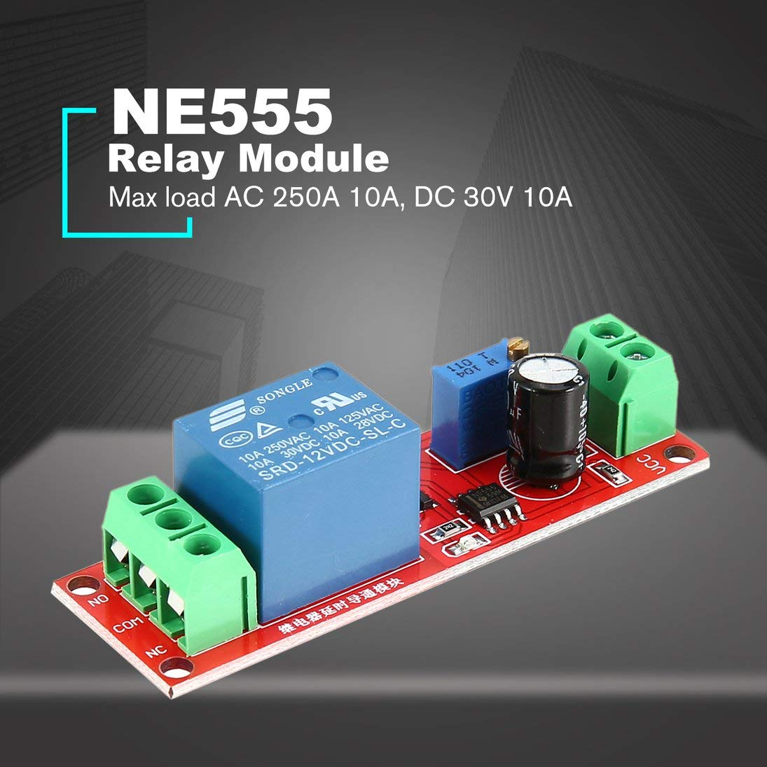 Baynne DC 12V NE555 Monostable Delay Relay Circuit Conduction Module Trigger Switch Timer Adjustable Time Shield Electronics Arduino by Baynne (Image #2)