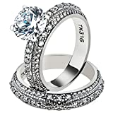 3.25 Ct Round Cut CZ Vintage Stainless Steel Wedding Ring Set Women's Size 5