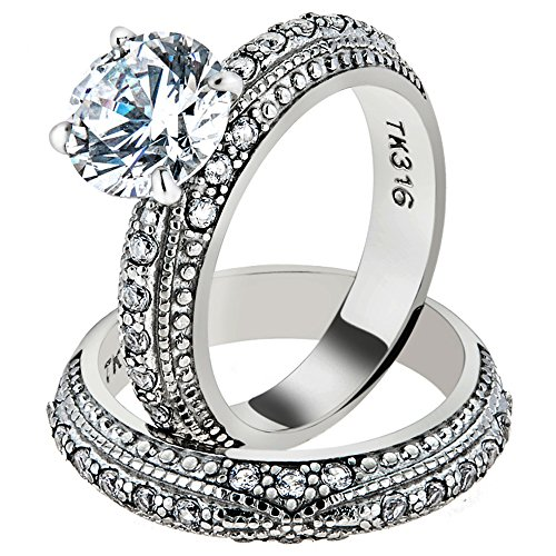 3.25 Ct Round Cut CZ Vintage Stainless Steel Wedding Ring Set Women's (Pave Wedding Ring Sets)