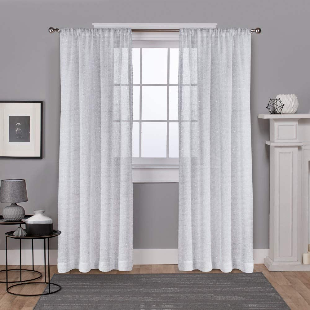 Exclusive Home Curtains Foil Belgian Metallic Linen Sheer Window Curtain Panel Pair with Rod Pocket, 54x84, Winter White, 2 Piece