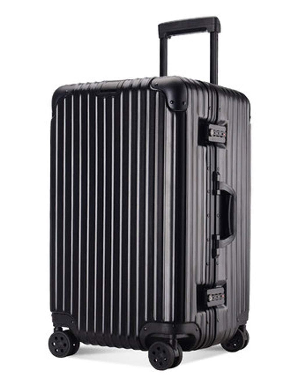 アルミフレームABSハードシェル荷物、伸縮プルロッド、TSA通関ロック、サイレントローラーデザイン、ビジネスパスワード搭乗シャーシ37cm * 27cm * 54cm (色 : 黒)   B07GRYGHYJ