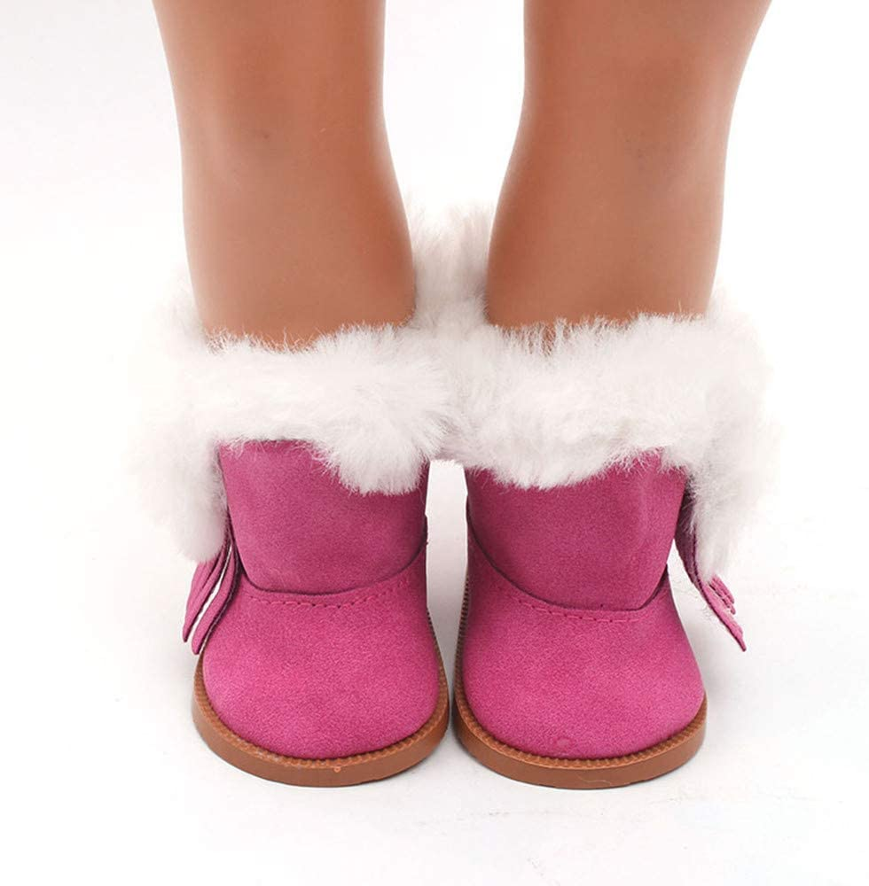 Toy Shimigy Doll Shoes Fur Lined Leather Boots Fits 18 Inch Girl Doll , Doll Shoes American Dolls Accessories Winter Glitter Doll Shoes ,Girl Simulation Gift (Hot Pink)