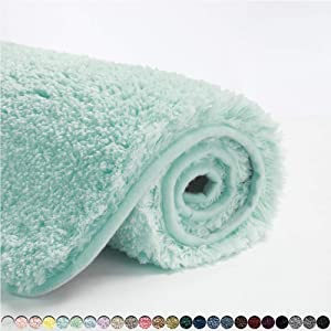 Suchtale Large Bathroom Rug Extra Soft and Absorbent Shaggy Bathroom Mat (24 x 40, Aqua) Machine Washable Microfiber Bath Mat for Bathroom, Non Slip Bath Mat, Luxury Bathroom Floor Mats Rubber Back