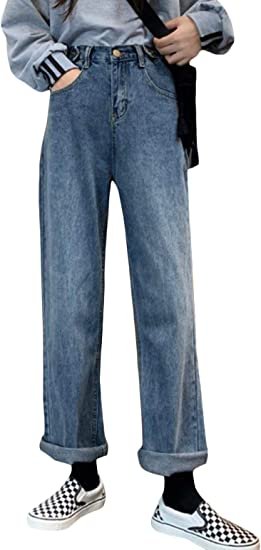 BeiBang(バイバン)ジーンズ レディース デニムパンツ ゆったり ハイウエスト ジーパン オシャレ 着痩せ Gパン ストレート ロング ワイドパンツ デニム ファッション ズボン