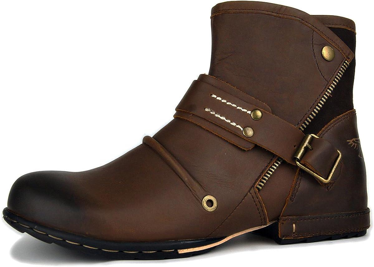 OSSTONE Botas para Moto Botines Hombre de Invierno Piel Zapatos Negras Vestir Nieve Piel Forradas Calientes Planas Combate Militares Cremallera Boots OS-5008-7-ES