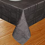 Eforcurtain Rectangle Classic Waterproof Plaid Tablecloth Polyester Table Cover for Parties (Black,52inchx70inch)