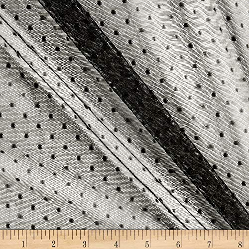 (Fabric Mart Dotted Netting Black Fabric by The)