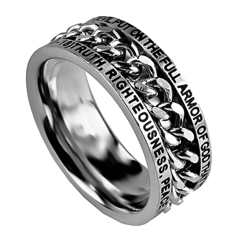 Armor of God Ring Spinner, Stainless Steel, Christian Bible Verse Ephesians 6