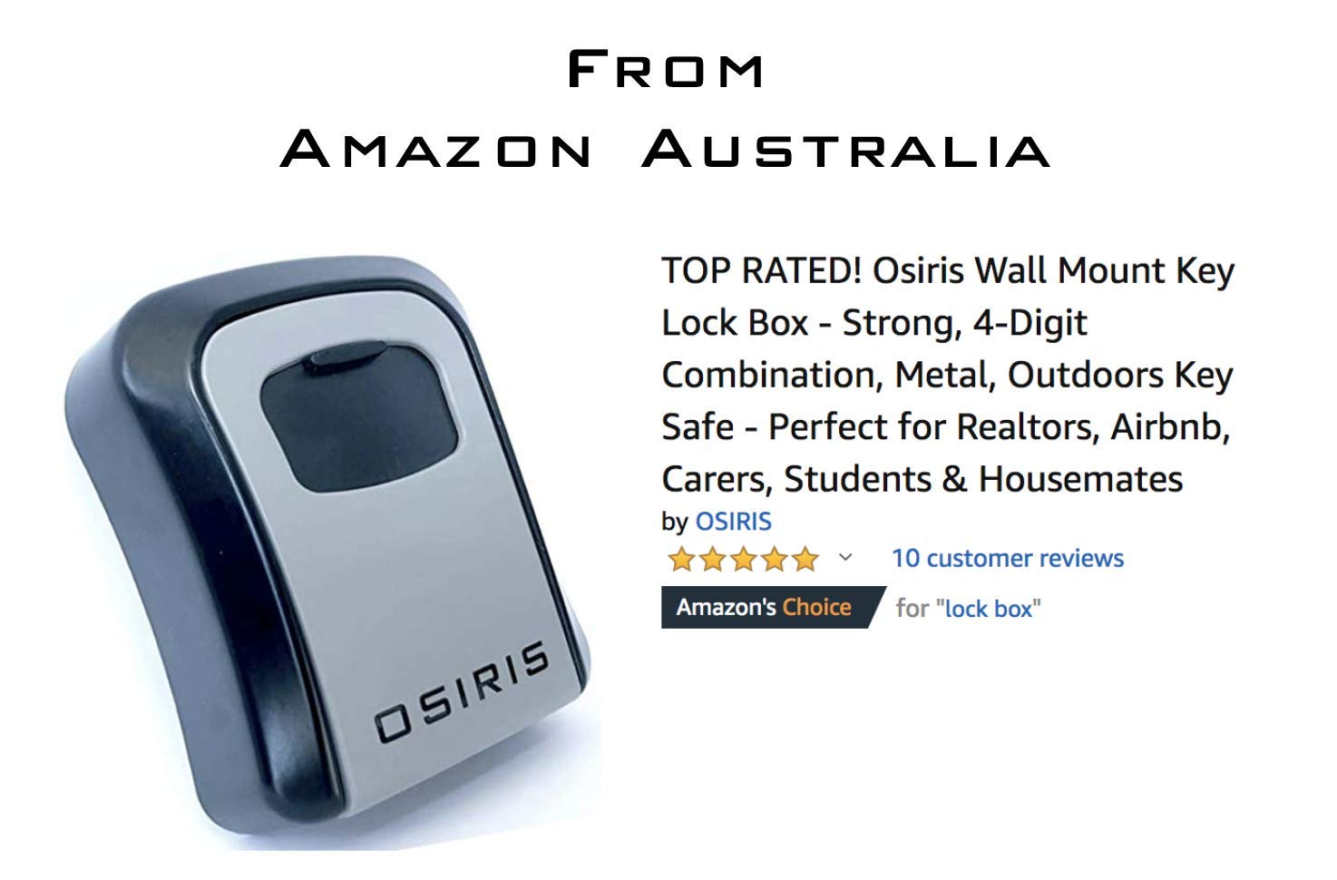 [LAUNCH SALE] Osiris Wall Mount Key LockBox - Strong, 4-Digit Combination,  Metal, Outdoors Key Safe - Perfect for Realtors, Airbnb, Carers, Students &