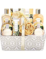 Spa Luxetique Vanilla Spa Gift Basket, 12pc Cloth Box Spa Kit, Home Spa Set for Women-Massage oil, Bath Bombs & Salts, Shower Gel, Body Lotion & More. Perfect Gift Set for Christmas, Birthday