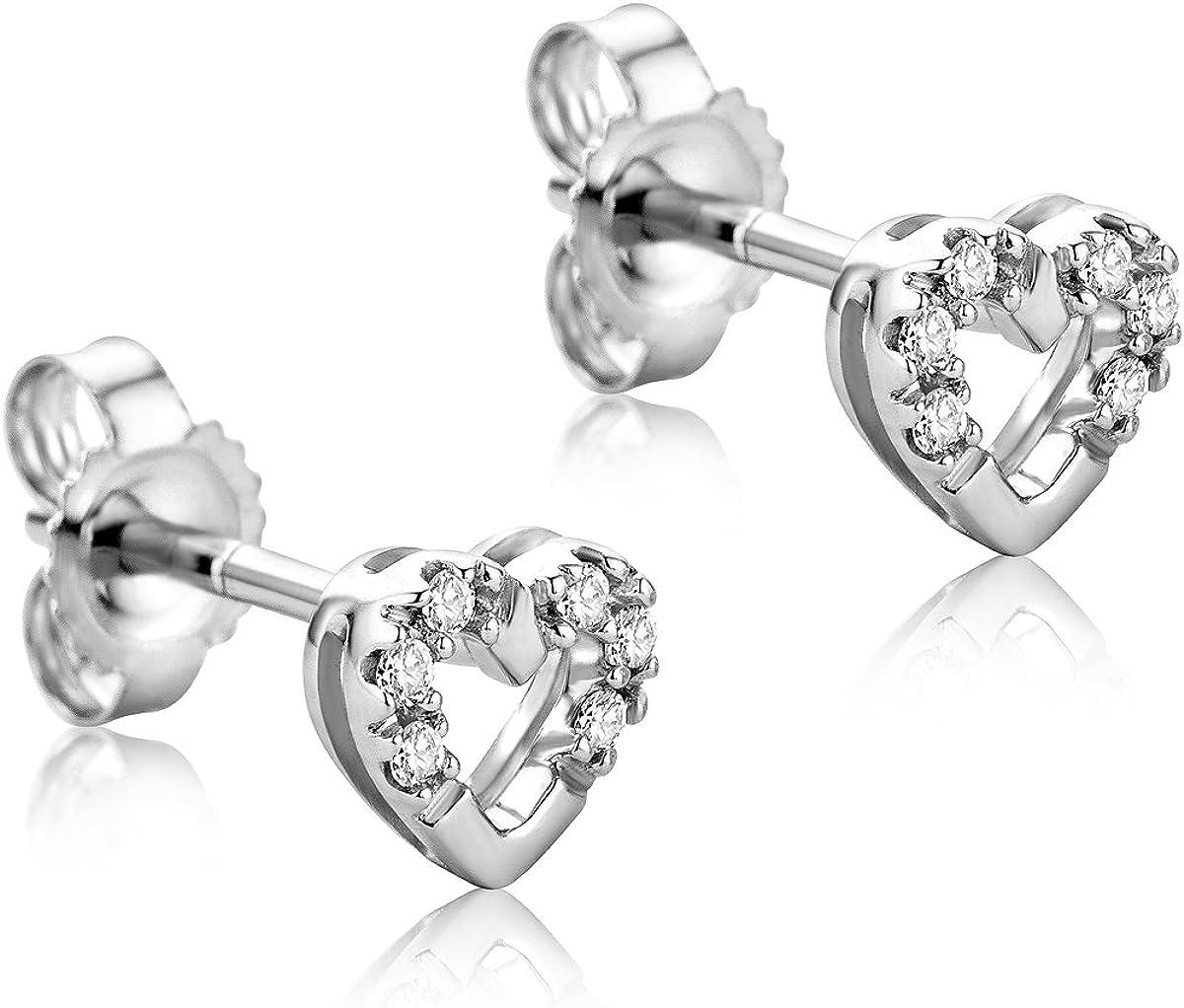 Orovi Pendientes Señora Corazón presión en Oro Blanco con Diamantes Talla Brillante 0.06 ct Oro 9 Kt / 375