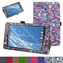 "Insignia NS-P08A7100 Case,Mama Mouth PU Leather Folio 2-folding Stand Cover with Stylus Holder for 8"" Insignia Flex NS-P08A7100 Andriod 6.0 Tablet 2016,Mushroom Fantasy"