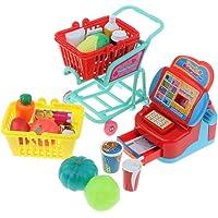 D DOLITY Juego De Supermercado Pretend Play, Juego De Caja Registradora con Carrito Y Juego Educativo De Alimentos para Niños