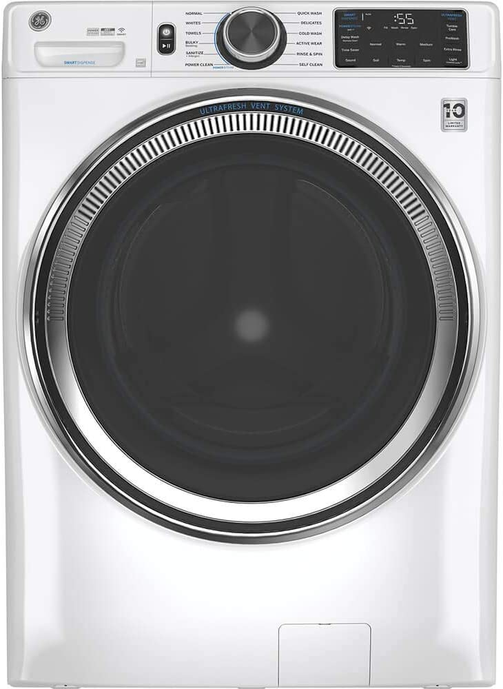 GE 4.8 Cu. Ft. Capacity White Smart Front Load Energy Star Steam Washer with SmartDispense UltraFresh Vent System with OdorBlock
