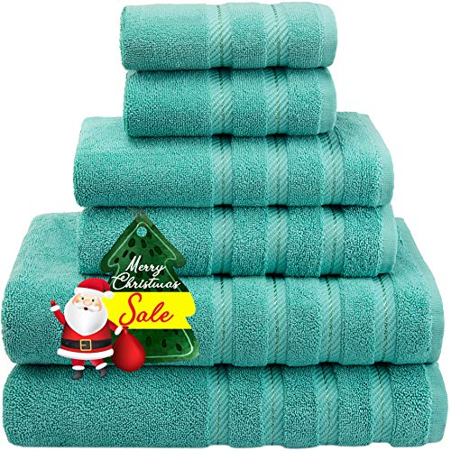 American Soft Linen Premium, Luxury Hotel & Spa Quality, 6 Piece Kitchen and Bathroom Turkish Towel Set, Cotton for Maximum Softness and Absorbency, [Worth $72.95] Turquoise Blue (Bath Towels Anchor)
