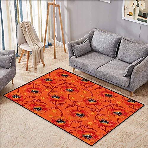 Oversized Floor Rug Burnt Orange Decor Poppy Flower Series Blossoms Romance Bohemian Artistic Design Print Burnt Orange Yellow Black Suitable for Outdoor and Indoor use W5'2 xL4'6 (Tuscan Series Island)