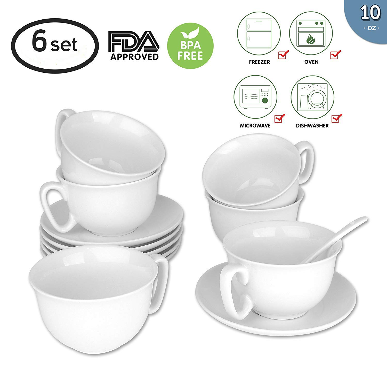 280ml/10 oz. Espresso Cups and Saucers Set with Handle Tea Cup(Include Ceramic spoon) and Saucer Fine Durable Porlecain White sets of 6