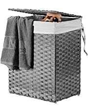 SortWise Handwoven Laundry Basket With Lid 90L Foldable Wicker Laundry Hamper With Removable Liner Bag For Bedroom, Bathroom, Laundry Room
