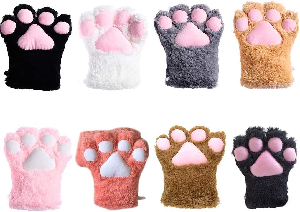 Sayletre Carino Guanti zampa del gatto per le donne ragazze Cosplay guanti inverno caldo del fumetto della peluche del Anime