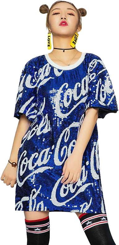 Mujeres Casual Vestido Manga Corta Lentejuelas Blusa Camiseta Cuello Redondo Mini Vestidos Sueltos Tops Adulto Hip Hop Ropa De Baile Tallas Grandes Amazon Es Ropa Y Accesorios