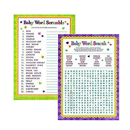 amazon com adorox baby shower party game scramble word search game