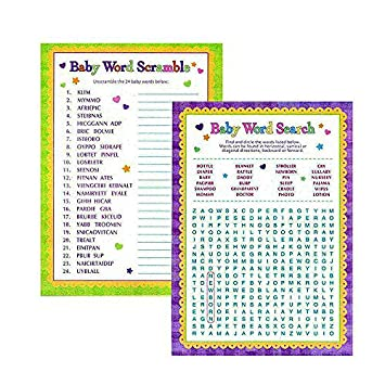 Adorox Baby Shower Word Search U0026 Word Scramble Games For Boy U0026 Girl ...
